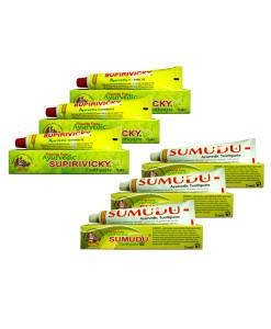 Siddhalepa 3x Supirivicky + 3x Sumudu - zvýhodněné balení zubních past (1 ks ZDARMA)