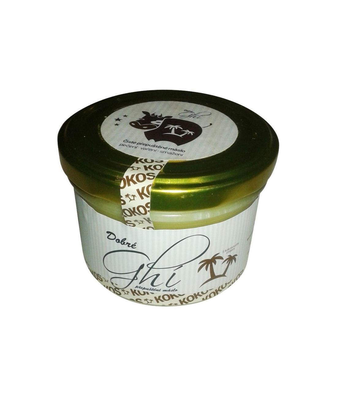 Dobré Ghí - přepuštěné máslo s kokosovým olejem, 220 ml