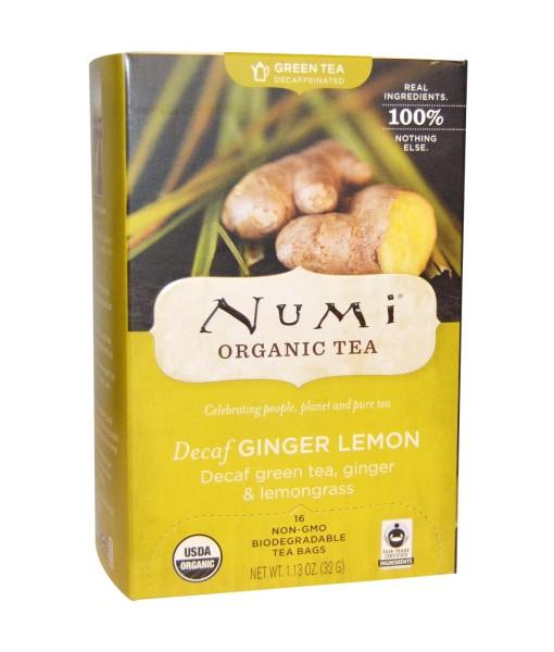 Numi Organic Tea Decaf Ginger Lemon - zelený se zázvorem a citronovou trávou, bio, 18 sáčků